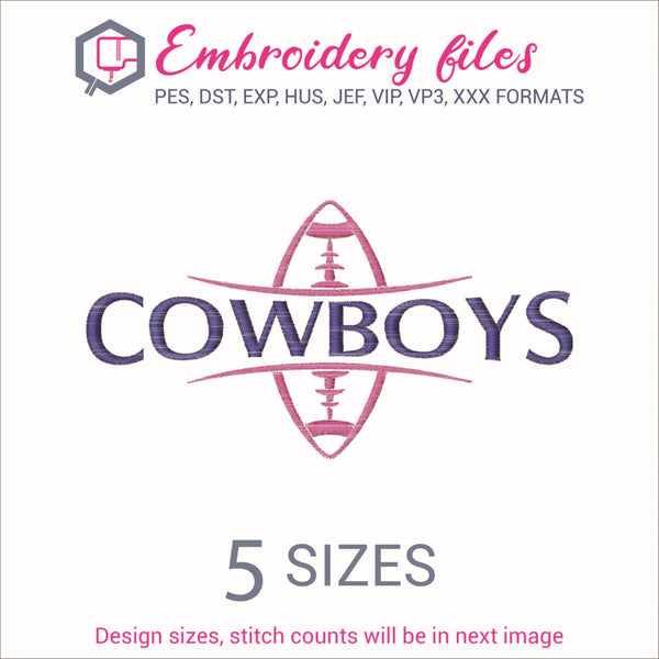 Cowboys Football Ball Embroidery in DST, EXP, HUS, JEF, PCS, PES, SEW, VIP, VP3 & XXX - rhinestone templates