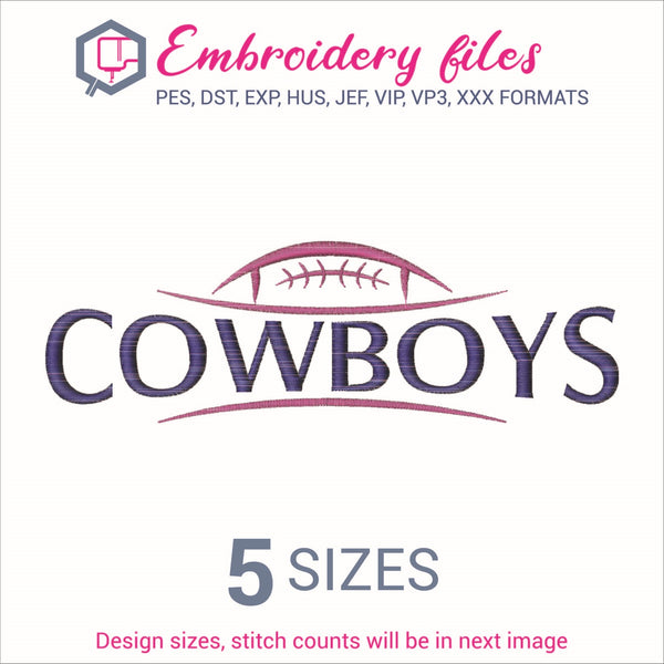Cowboys Football Embroidery in DST, EXP, HUS, JEF, PCS, PES, SEW, VIP, VP3 & XXX - rhinestone templates