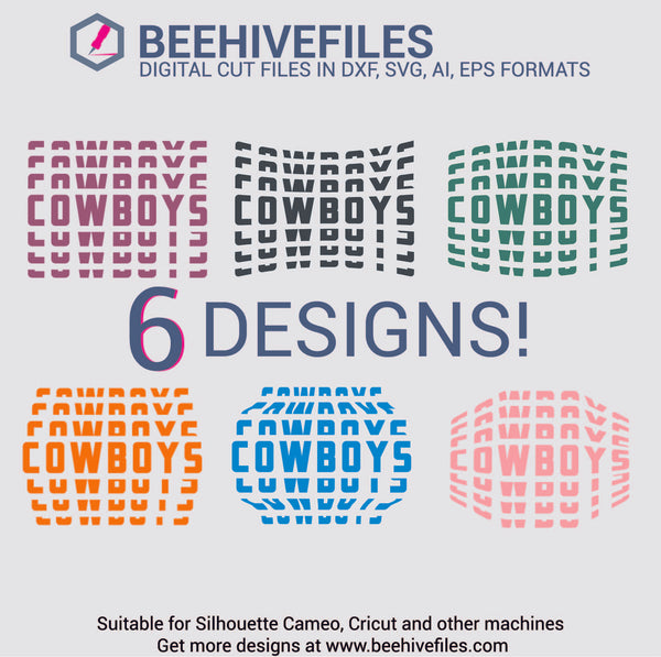 Cowboys team name stacked 6 styles in svg, dxf, png, ai, eps format - rhinestone templates