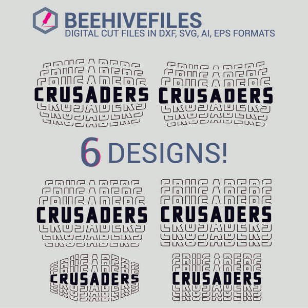 Crusaders team name stacked outline 6 styles in svg, dxf, png, ai, eps format - rhinestone templates