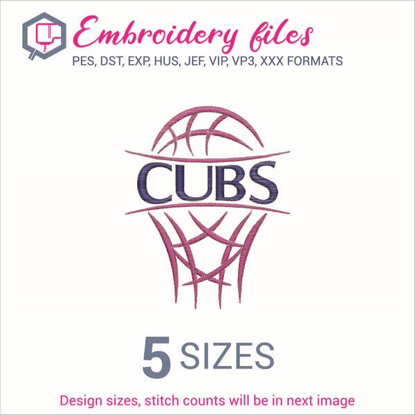 Cubs team Basketball Embroidery in DST, EXP, HUS, JEF, PCS, PES, SEW, VIP, VP3 & XXX - rhinestone templates