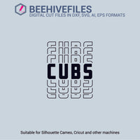 Cubs team name stacked outline 6 styles in svg, dxf, png, ai, eps format - rhinestone templates