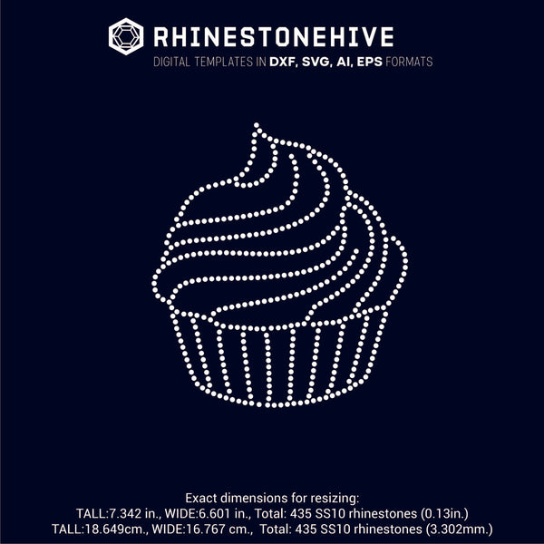 Cupcake rhinestone template digital download, ai, svg, eps, png, dxf - rhinestone templates