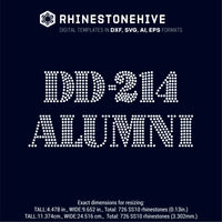 DD-214 Alumni rhinestone template digital download, ai, svg, eps, png, dxf - rhinestone templates