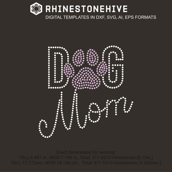Dog mom slim rhinestone template digital download, ai, svg, eps, png, dx - rhinestone templates