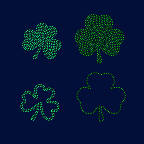 Shamrock rhinestone template digital download, svg, eps, ai, png, dxf - rhinestone templates