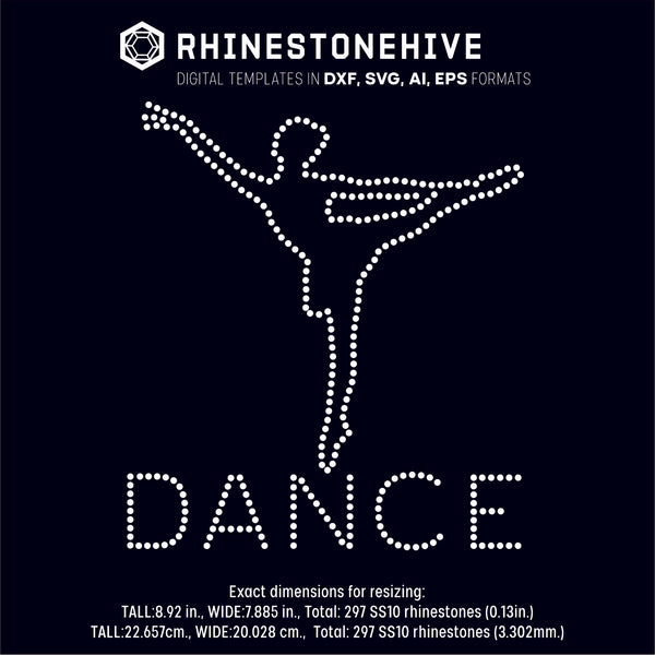 Dance dancer rhinestone template digital download, ai, svg, eps, png, dxf - rhinestone templates