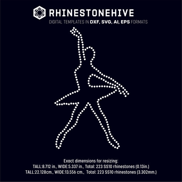 Dancer rhinestone template digital download, ai, svg, eps, png, dxf - rhinestone templates