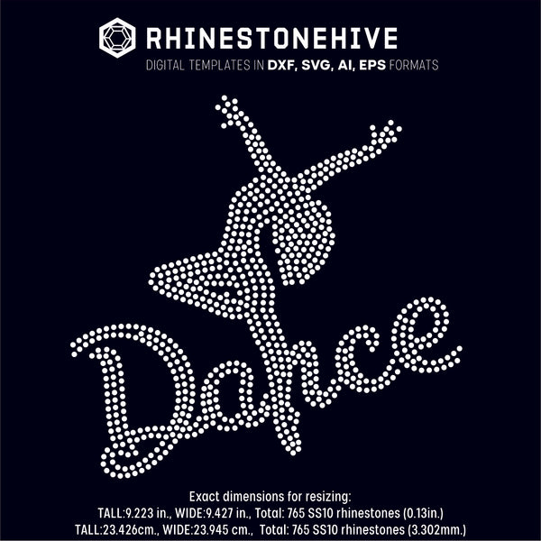 Dance rhinestone template digital download, ai, svg, eps, png, dxf - rhinestone templates