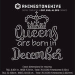 Queens are born in  December Birthday rhinestone template digital download, ai, svg, eps, png, dxf - rhinestone templates