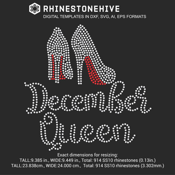 December Queen high heels Birthday rhinestone template digital download, ai, svg, eps, png, dxf - rhinestone templates