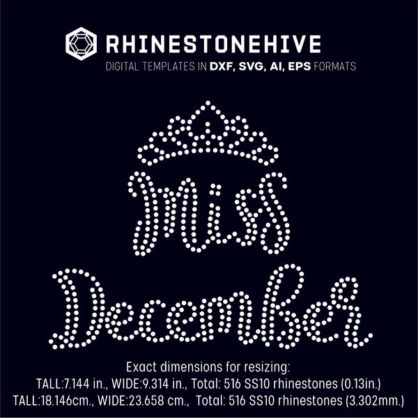 Miss December rhinestone template digital download, ai, svg, eps, png, dxf - rhinestone templates