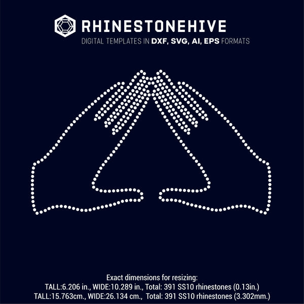 Delta hands rhinestone template digital download, ai, svg, eps, png, dxf - rhinestone templates