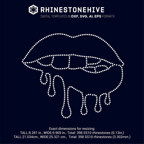 Dripping lips rhinestone template digital download, ai, svg, eps, png, dxf - rhinestone templates