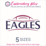 Eagles Football Ball Embroidery in DST, EXP, HUS, JEF, PCS, PES, SEW, VIP, VP3 & XXX - rhinestone templates