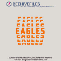 Eagles team name stacked 6 styles in svg, dxf, png, ai, eps format - rhinestone templates