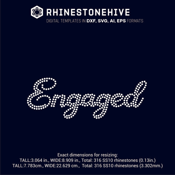 Engaged rhinestone template digital download, ai, svg, eps, png, dxf - rhinestone templates