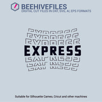 Express team name stacked outline 6 styles in svg, dxf, png, ai, eps format - rhinestone templates