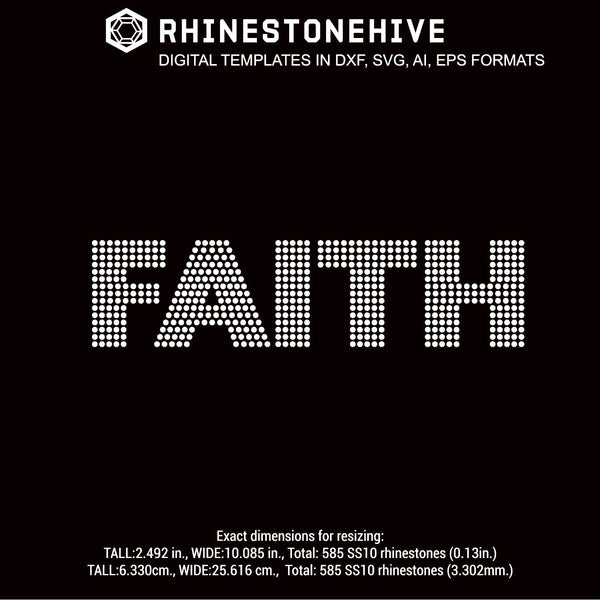 FAITH rhinestone template digital download, ai, svg, eps, png, dxf - rhinestone templates