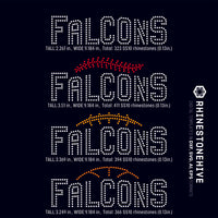 Falcons team baseball, football, basketball, sport digital rhinestone templates, ai, svg, eps, png, dxf - rhinestone templates
