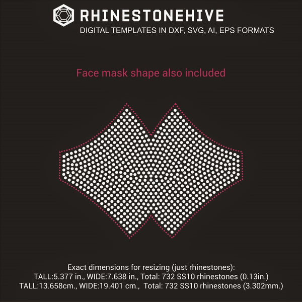 Face mask all filled rhinestone template digital download, ai, svg, eps, png, dxf - rhinestone templates