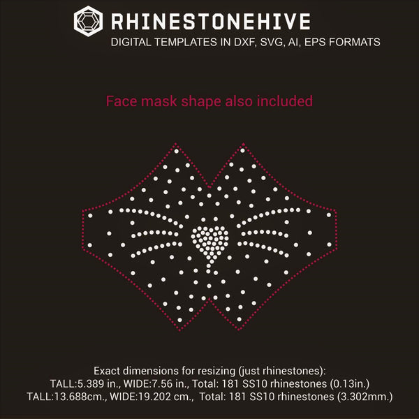 Face mask cat face rhinestone template digital download, ai, svg, eps, png, dxf - rhinestone templates