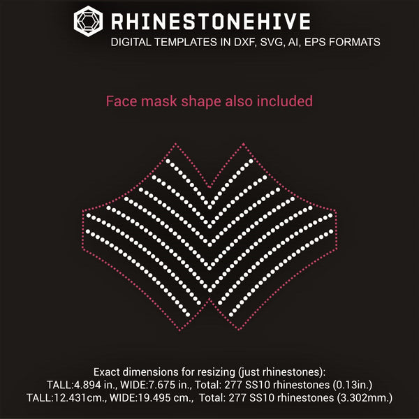Face mask lines rhinestone template digital download, ai, svg, eps, png, dxf - rhinestone templates