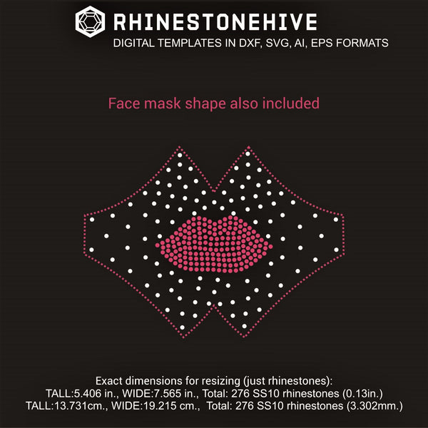 Face mask lips rhinestone template digital download, ai, svg, eps, png, dxf - rhinestone templates