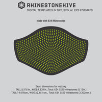 Face mask pattern with 634 rhinestones digital template Large size digital download, svg, eps, png, dxf - rhinestone templates