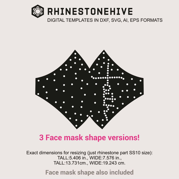 3 Face masks Faith cross rhinestone templates digital download, ai, svg, eps, png, dxf - rhinestone templates