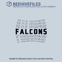 Falcons team name stacked outline 6 styles in svg, dxf, png, ai, eps format - rhinestone templates
