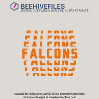 Falcons team name stacked 6 styles in svg, dxf, png, ai, eps format - rhinestone templates