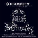 Miss February rhinestone template digital download, ai, svg, eps, png, dxf SS10