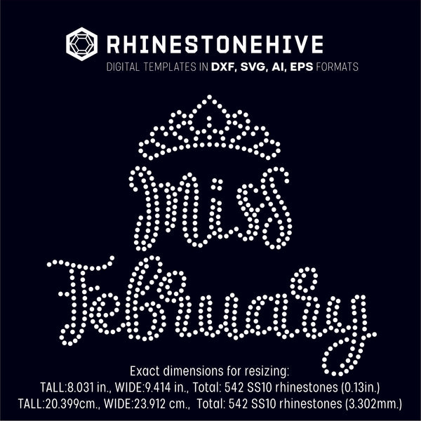 Miss February rhinestone template digital download, ai, svg, eps, png, dxf - rhinestone templates