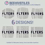 Flyers team name stacked outline 6 styles in svg, dxf, png, ai, eps format - rhinestone templates