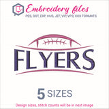 Flyers Football Ball Embroidery in DST, EXP, HUS, JEF, PCS, PES, SEW, VIP, VP3 & XXX - rhinestone templates