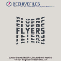 Flyers team name stacked 6 styles in svg, dxf, png, ai, eps format - rhinestone templates