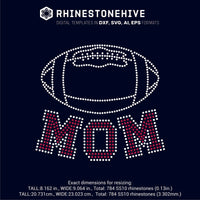 American Football MOM rhinestone template digital download, ai, svg, eps, png, dxf - rhinestone templates