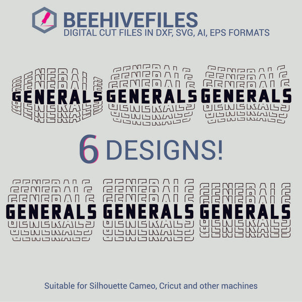 Generals team name stacked outline 6 styles in svg, dxf, png, ai, eps format - rhinestone templates