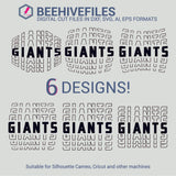 Giants team name stacked outline 6 styles in svg, dxf, png, ai, eps format - rhinestone templates