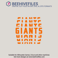 Giants team name stacked 6 styles in svg, dxf, png, ai, eps format - rhinestone templates
