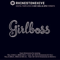 Girlboss rhinestone template digital download, ai, svg, eps, png, dxf - rhinestone templates