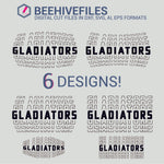 Gladiators team name stacked outline 6 styles in svg, dxf, png, ai, eps format - rhinestone templates