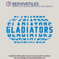 Gladiators team name stacked 6 styles in svg, dxf, png, ai, eps format - rhinestone templates