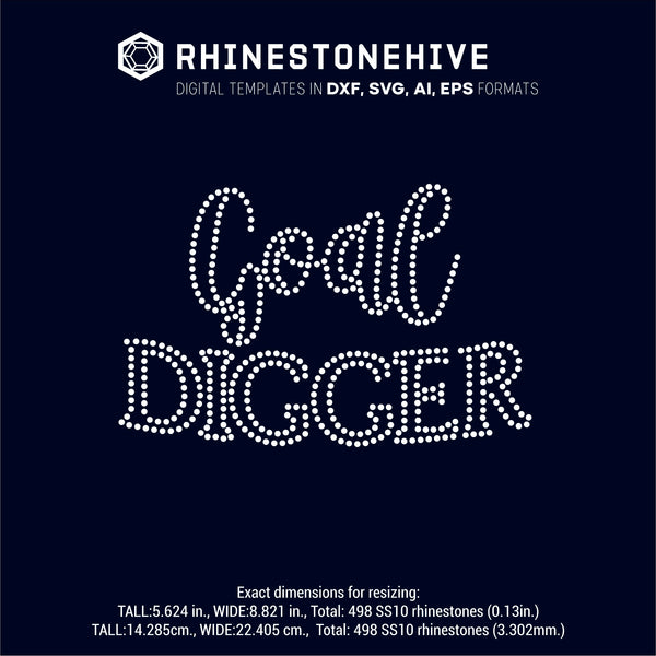 Goal Digger rhinestone template digital download, ai, svg, eps, png, dxf - rhinestone templates