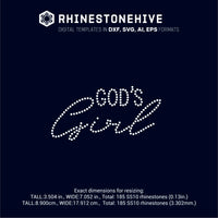God's girl rhinestone template digital download, ai, svg, eps, png, dxf - rhinestone templates