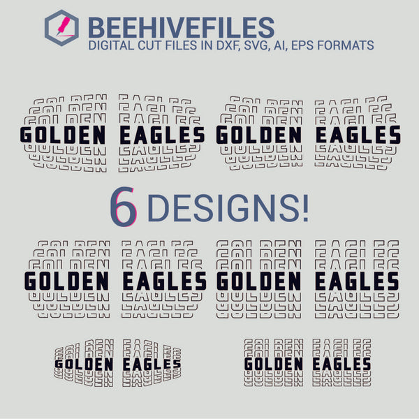 Golden Eagles team name stacked outline 6 styles in svg, dxf, png, ai, eps format - rhinestone templates