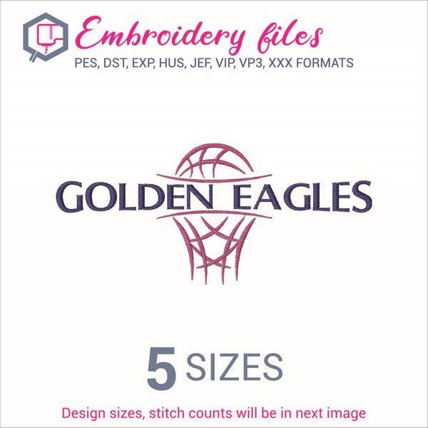 Golden Eagles team Basketball Embroidery in DST, EXP, HUS, JEF, PCS, PES, SEW, VIP, VP3 & XXX - rhinestone templates
