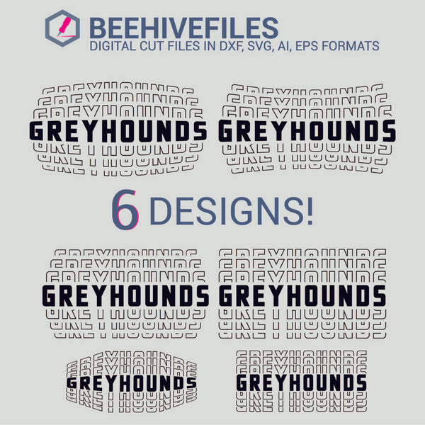 Greyhounds team name stacked outline 6 styles in svg, dxf, png, ai, eps format - rhinestone templates