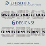 Grizzlies team name stacked outline 6 styles in svg, dxf, png, ai, eps format - rhinestone templates